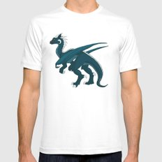 Teal Dragon White Mens Fitted Tee SMALL