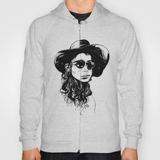 Woman in Hat and Sunglasses Hoody
