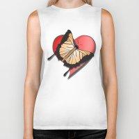 Butterfly over a heart, a symbol of romance. Biker Tank