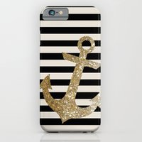 iPhone Cases featuring GOLD GLITTER ANCHOR IN BLACK AND NUDE by colorstudio