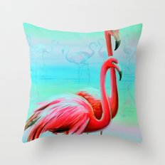Flamingo At Dawn Throw Pillow