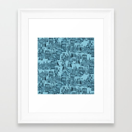 Doctor Who Toile de Jouy | 'Walking Doodle' | Turquoise Framed Art Print