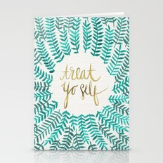 Treat Yo Self – Gold & Turquoise Stationery Cards