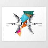 Swallows, Geometric Draw… Art Print