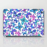 Watercolor Fruit Patterned Butterflies - aqua and sapphire iPad Case