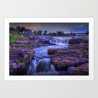 Cascading Waterfalls at sunset in Sioux Falls South Dakota Art Print