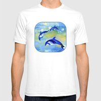 Dolphin Fantasy Mens Fitted Tee White SMALL