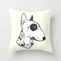 Bull Terrier Dog Tattooe… Throw Pillow