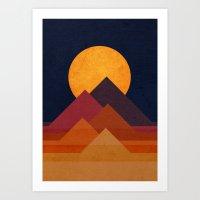 sun Art Prints featuring Full moon and pyramid by Picomodi