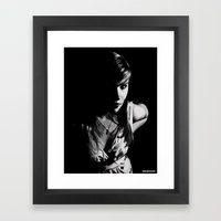 Girl in grey Framed Art Print