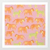 Pink Tigers Art Print