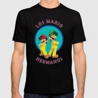 Los Mario Hermanos Mens Fitted Tee Black SMALL