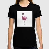 Pink Flamingo Womens Fitted Tee Black SMALL