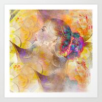 Profile Woman And Flower… Art Print