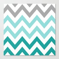 TEAL FADE CHEVRON Canvas Print