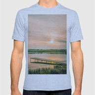 Running Clouds Mens Fitted Tee Athletic Blue SMALL