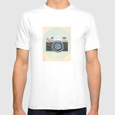 Vintage Camera White SMALL Mens Fitted Tee