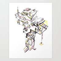 Cross Building (white Ba… Art Print