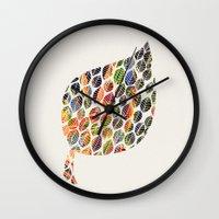 Leafy Palette Ecru Wall Clock