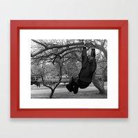 Swinging on Tree Branches Framed Art Print