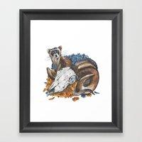 Ferret And Skull Framed Art Print