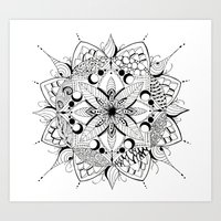 Mandala Art, India, Geometric, Tribal Art, Black and white Art Print