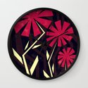 Red flowers on wood Wall Clock