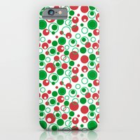 iPhone & iPod Case featuring Circle Pattern Holiday Red Green and White by LesrubaDesigns