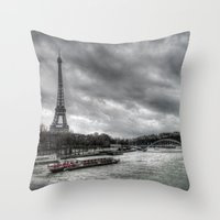 The Eiffel Tower and the Seine - Paris cityscape - hdr Throw Pillow