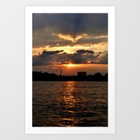 Sunset On The Hudson Art Print