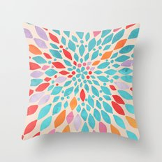 Radiant Dahlia - teal, orange, coral, pink watercolor pattern Throw Pillow