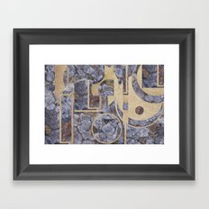 Stiperstones Lichen and Gold Abstract Framed Art Print