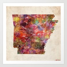 Arkansas map Art Print