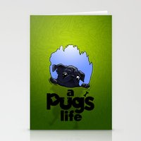 a Pug's life (dark) Stationery Cards