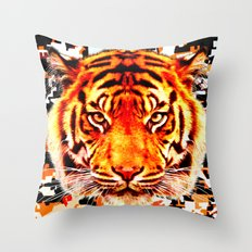camouflage tiger on yellow  Throw Pillow
