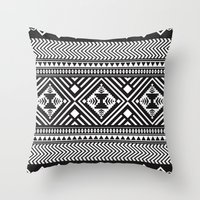 Monochrome Aztec inspired geometric pattern Throw Pillow