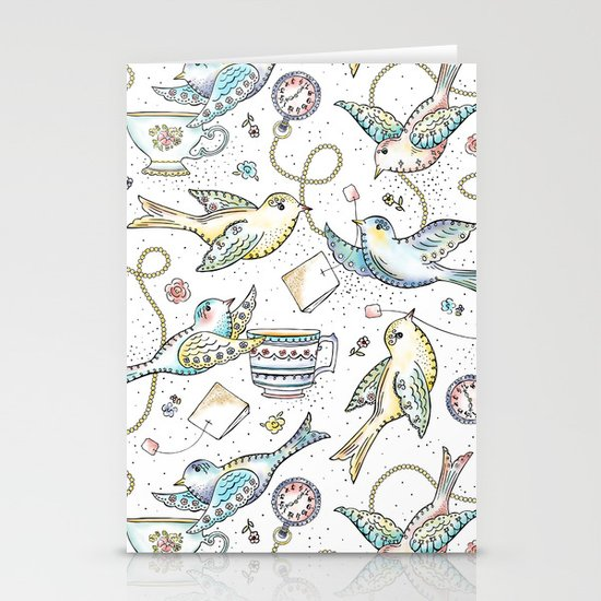Twittering Tea Party Stationery Card