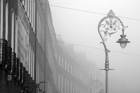 Dublin street lamp in the fog Canvas Print