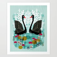 Swans By Andrea Lauren Art Print