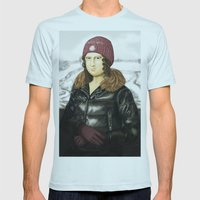 Mona Lisa in winter Mens Fitted Tee Light Blue SMALL