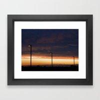 Sunset Street Lights Framed Art Print