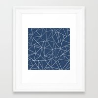 Ab Dotted Lines Navy Framed Art Print