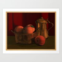 Still Life With Peaches Art Print