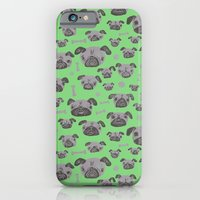 iPhone & iPod Case featuring Pug Life  - Green and Grey by Lupo Manaro