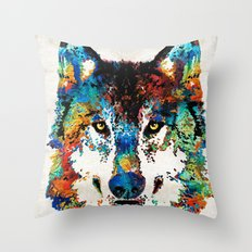 Wolf Art Print - Hungry - By Sharon Cummings Throw Pillow