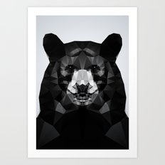 Bear - Black Geo Animal Series Art Print