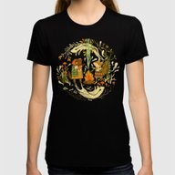 Animal Chants & Forest W… Womens Fitted Tee Black SMALL