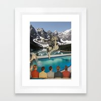 Poolside Olympics Framed Art Print