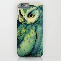 green iPhone & iPod Cases featuring Green Owl by Teagan White