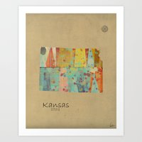 Kansas state map Art Print